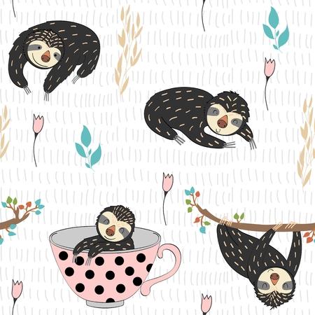 Seamless pattern. Vector hand drawn illustration with funny sloths. Иллюстрация