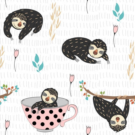 Seamless pattern. Vector hand drawn illustration with funny sloths. Illustration