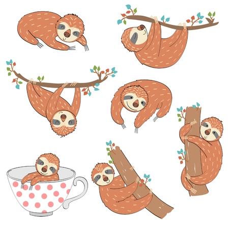 Set of cute cartoon sloth. Vector Illustration. Иллюстрация