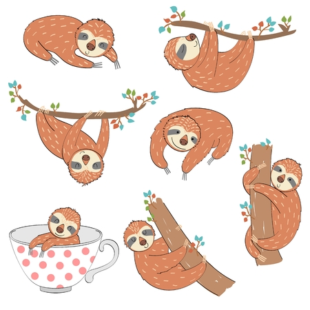Set of cute cartoon sloth. Vector Illustration. Ilustração