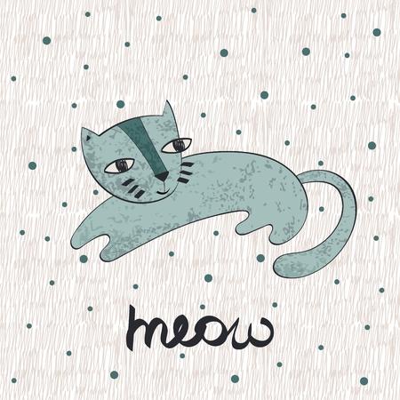 Vector hand drawn cute cat.