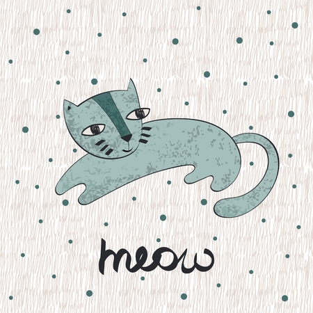 Vector hand drawn cute cat.