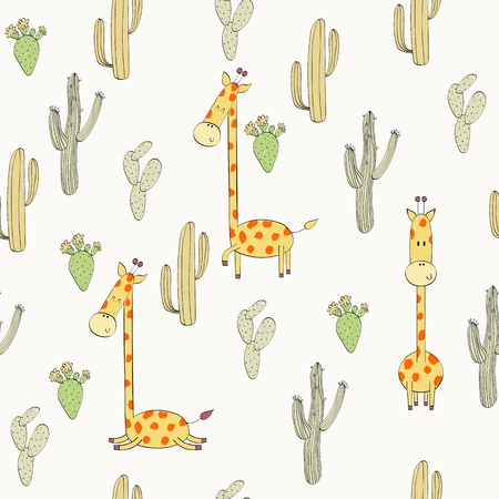 Vector hand drawn seamless pattern with cactuses and giraffes