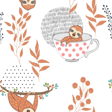 Seamless pattern. Vector hand drawn illustration with funny sloths. 일러스트