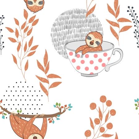 Seamless pattern. Vector hand drawn illustration with funny sloths. Ilustração