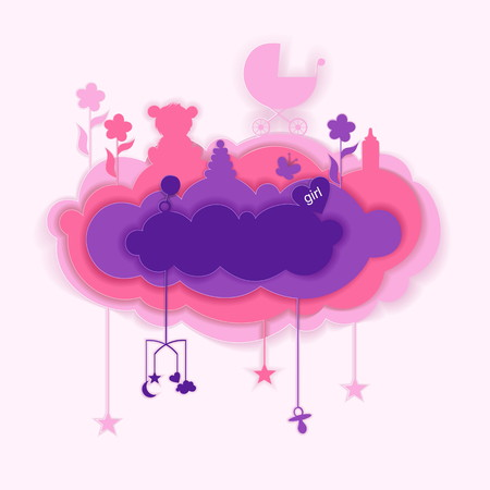 Paper cut of cloud with babies elements, card illustration. Illustration