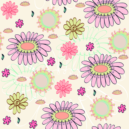 Vector seamless pattern with fantasy blossoming flowers .