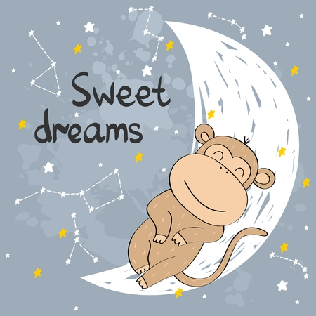 Vector illustration with funny monkey and moon. Sweet dreams.