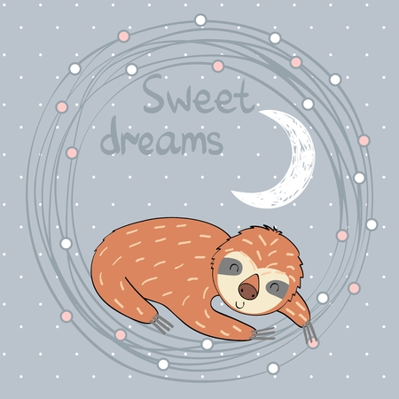 Vector illustration with funny sloth and moon. Sweet dreams.