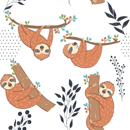 Seamless pattern. Vector hand drawn illustration with funny sloths. Vettoriali