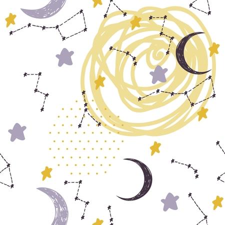 Patrones sin fisuras con constelaciones y luna. Dulces sueños.