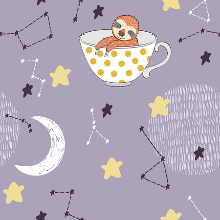 Vector illustration with sloth and moon. Sweet dreams. Иллюстрация