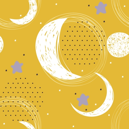 Seamless pattern with stars and moon. Sweet dreams.
