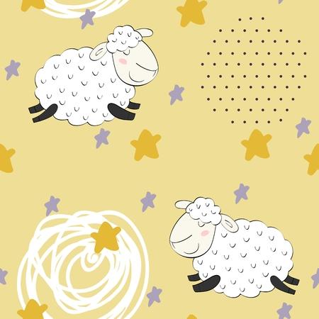 Seamless pattern with funny sheep. Sweet dreams. Ilustração