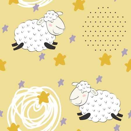 Seamless pattern with funny sheep. Sweet dreams. Illustration
