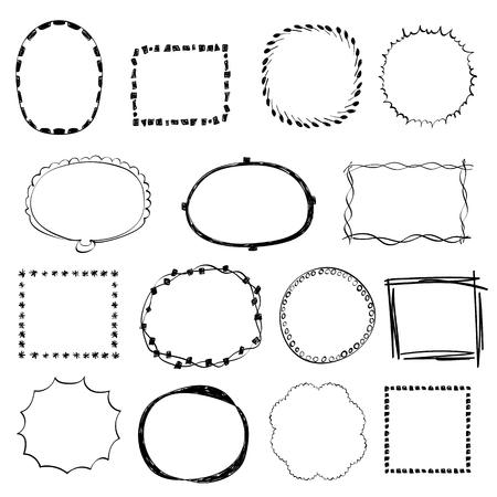 Vector set of various Hand Drawn frames. Иллюстрация