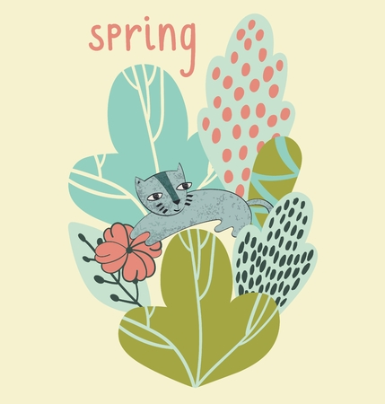 Spring vector illustration with stylish stylized leaves and flowers. Archivio Fotografico - 125203692