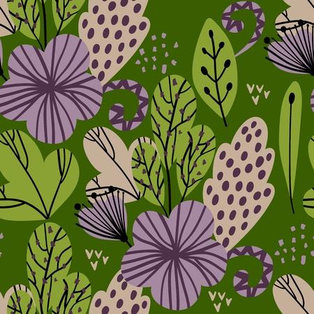 Spring seamless pattern with stylish stylized leaves and flowers. Ilustração