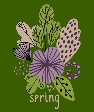 Spring vector illustration with stylish stylized leaves and flowers.