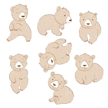 Set of cute cartoon bears. Isolated vector illustration Ilustração