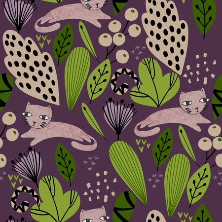 Spring seamless pattern with stylish stylized leaves and flowers. Illustration