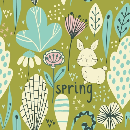 Spring seamless pattern with stylish stylized leaves and flowers. Stockfoto - 124778826