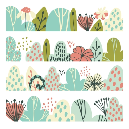 Vector floral greenery borders with stylish stylized leaves and flowers.