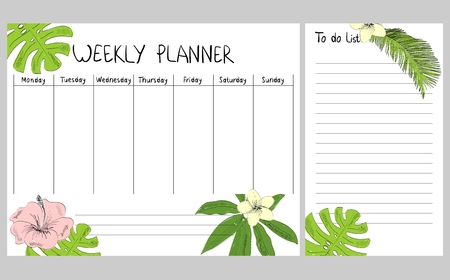 Hand drawing vector weekly planner with tropical leaves and flowers.
