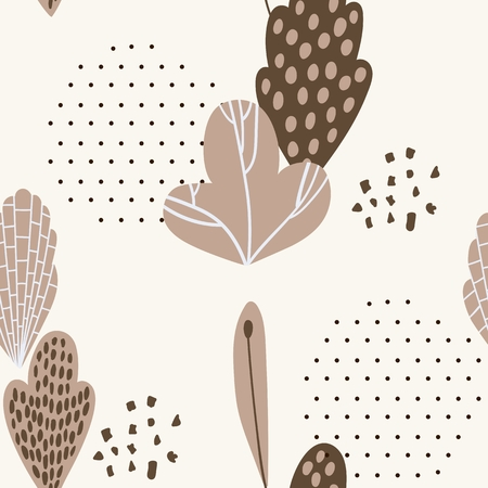 Spring seamless pattern with stylish stylized leaves. Stock Illustratie