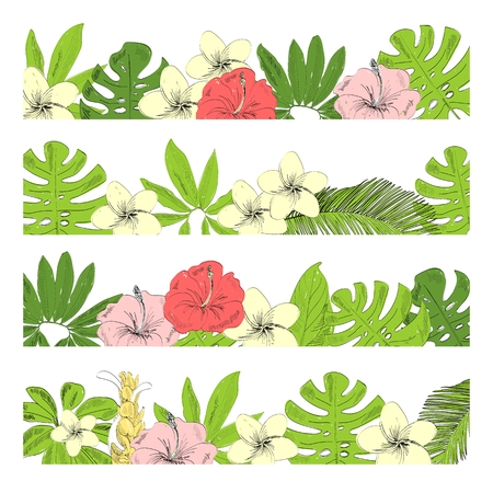 Vector floral greenery borders with tropical leaves and flowers. Stockfoto - 124753624