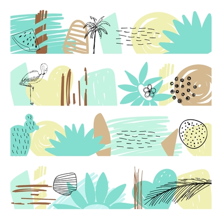 Summer vector borders with flamingo and abstract elements. Stock Illustratie