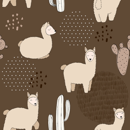 hand drawn vector seamless pattern with llamas