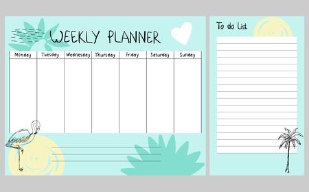Hand drawing vector weekly planner with summer elements. Stock Illustratie
