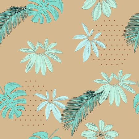 Tropical seamless vector pattern with blue leaves. Stockfoto - 124753634