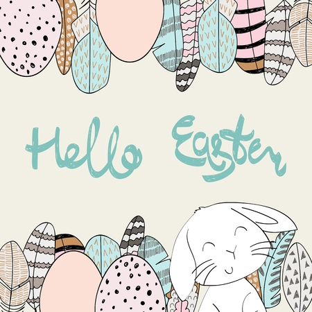 Hand drawing greeting card with eggs and bunny. Stock Illustratie