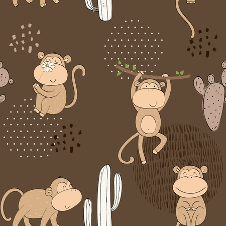 Vector hand drawn seamless pattern with cactuses and monkeys Stockfoto - 124573698