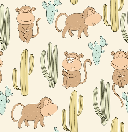 Vector hand drawn seamless pattern with cactuses and monkeys