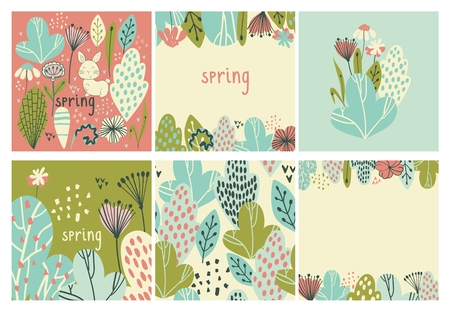 Spring vector illustrations with stylish stylized leaves.