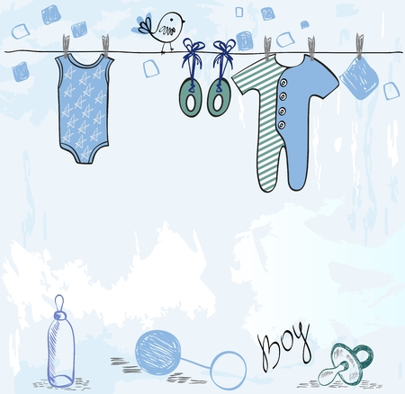 Vector baby shower. Cute card for boy with baby elements.