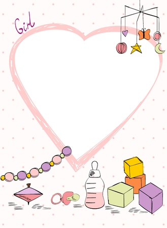 Vector baby shower. Cute card for girl with baby elements. Illustration