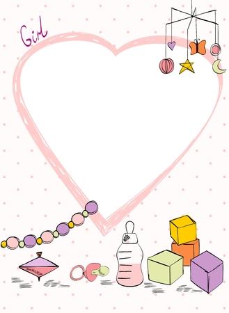 Vektor-Babyparty. Nette Karte für Mädchen mit Babyelementen.