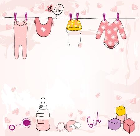 Ducha de bebé de vector. Tarjeta linda para niña con elementos de bebé.