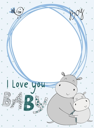 Baby shower card. Vector hippo mom and baby