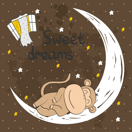 Vector sleeping monkey Illustration
