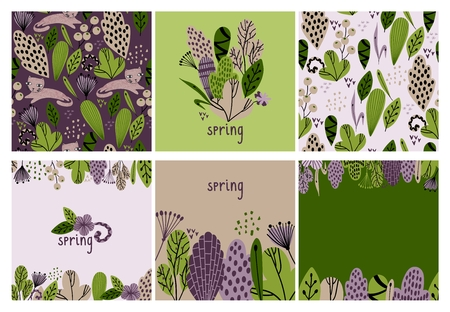 Spring vector illustration with stylish stylized leaves and flowers. Archivio Fotografico - 118935515