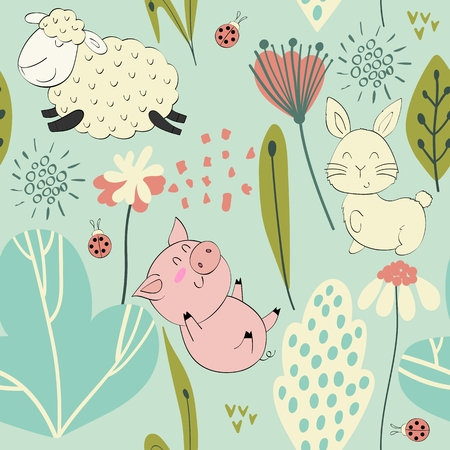 Cute vector seamless pattern with funny animals. Background for fabric, paper, wallpaper, wrapping and other.
