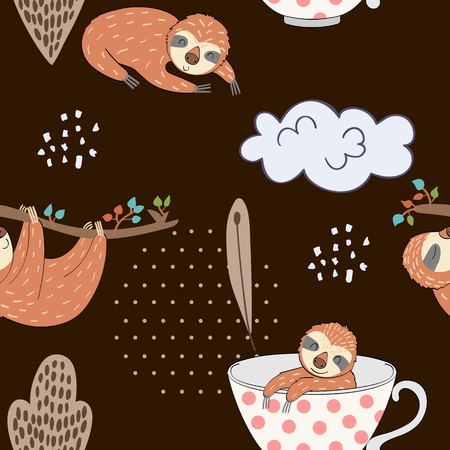 Seamless pattern. Vector hand drawn illustration with funny sloths. Stock Illustratie