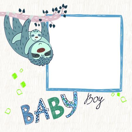 Baby shower card. Vector sloth mom and baby. Ilustração