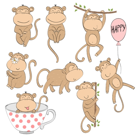 Set of cute cartoon monkey. Vector Illustration.  イラスト・ベクター素材
