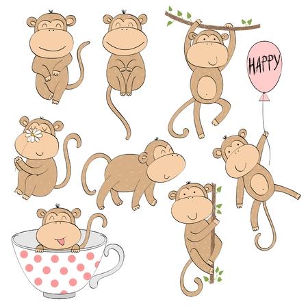 Set of cute cartoon monkey. Vector Illustration. Illustration